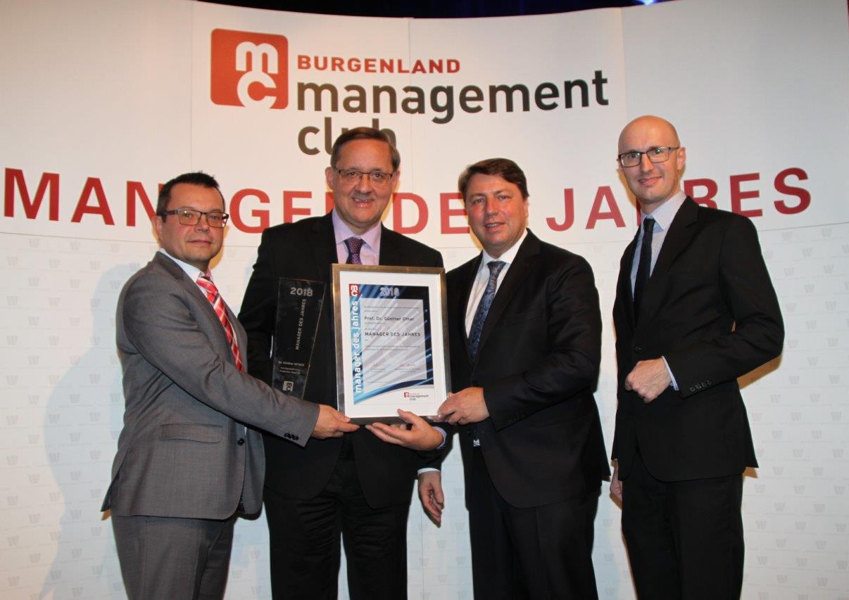 """mc Burgenland Geschäftsführer Christian Schriefl, """"Manager des Jahres"""" Günther Ofner, mc Burgenland Präsident Rudolg Könighofer, mc Geschäftsführer Walter Gupfinger"""